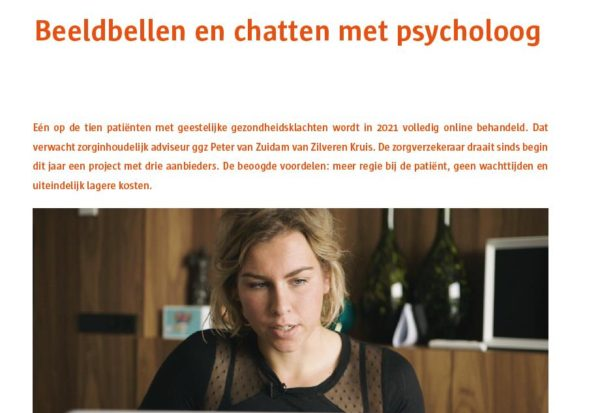 Screenshot artikel Beeldbellen en chatten met psycholoog