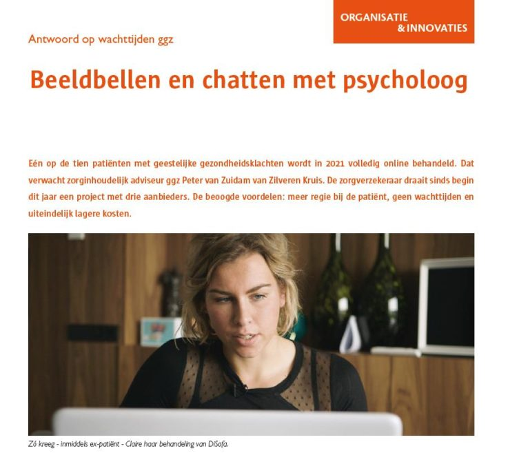 Screenshot artikel Beeldbellen en chatten met psycholoog
